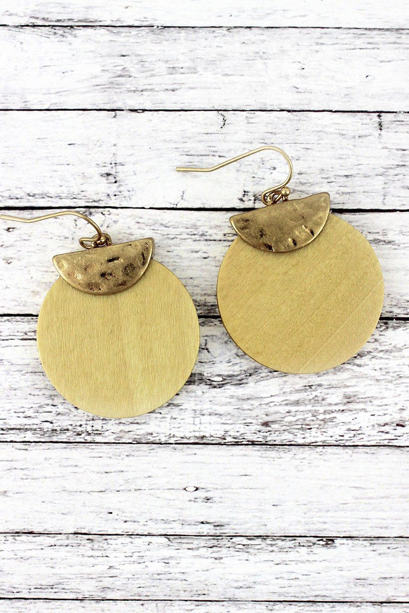 Crave Goldtone Half Moon and Ivory Wood Disk Layered Earrings
