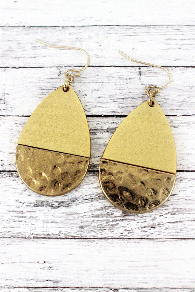 Crave Ivory Wood and Hammered Goldtone Teardrop Earrings