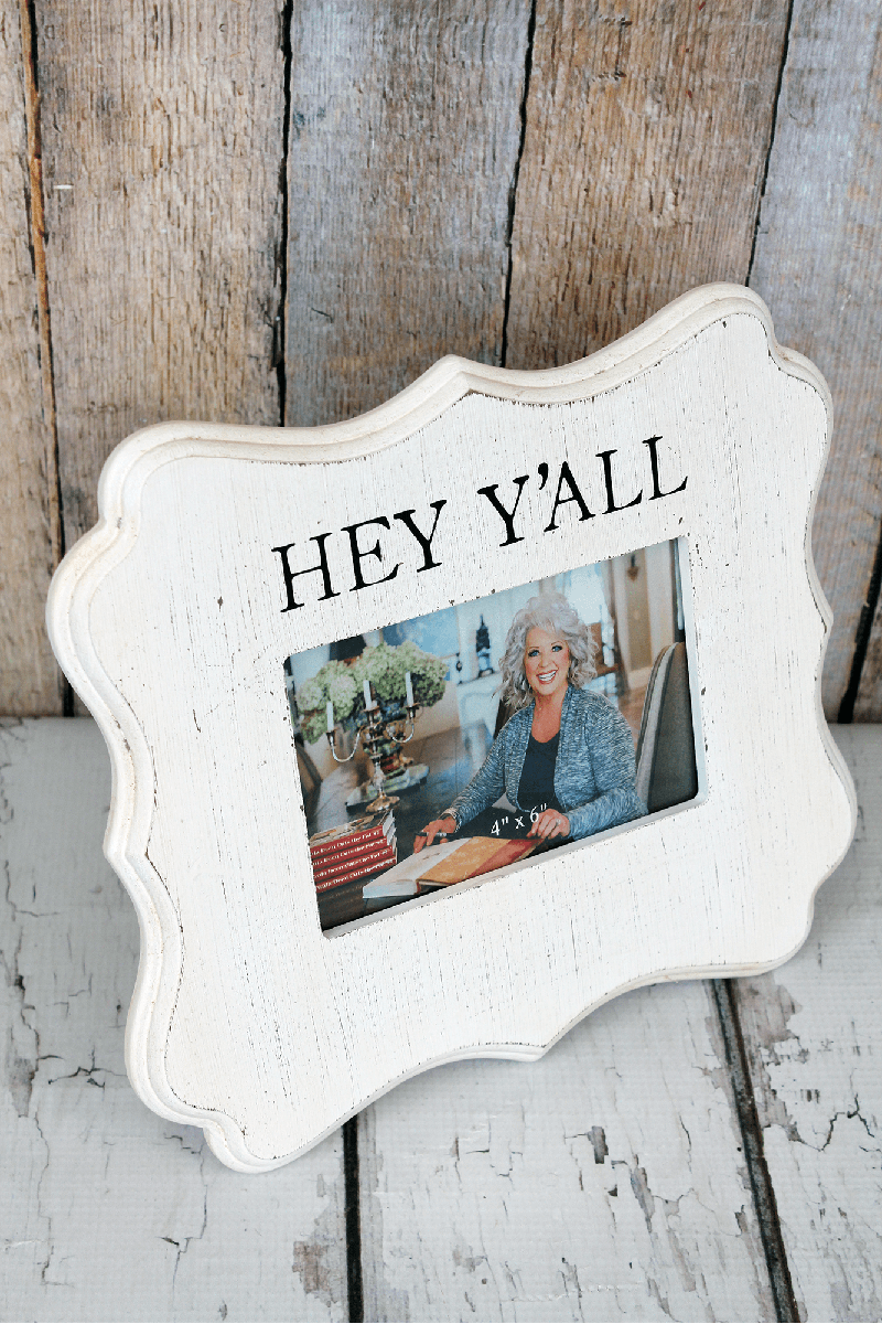 9.5 x 10.5 'Hey Y'all' White Washed Wood 4x6 Photo Frame