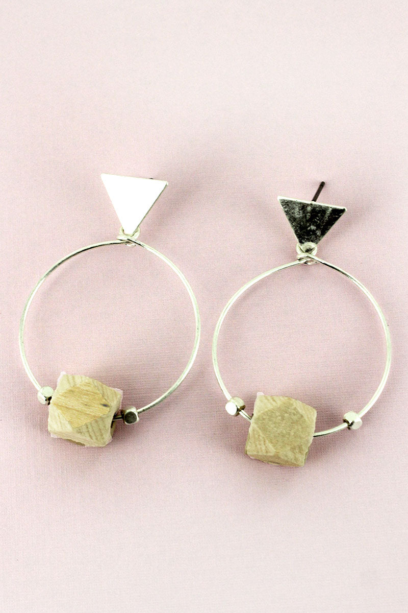 Silvertone Triangle and Natural Wood Prism Earrings