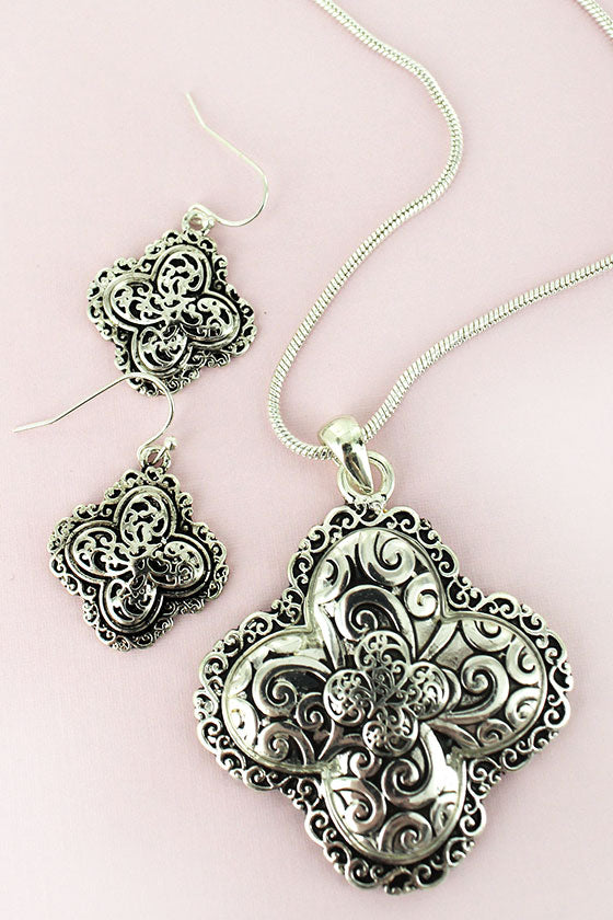 Silvertone Scroll Quatrefoil Necklace and Earring Set
