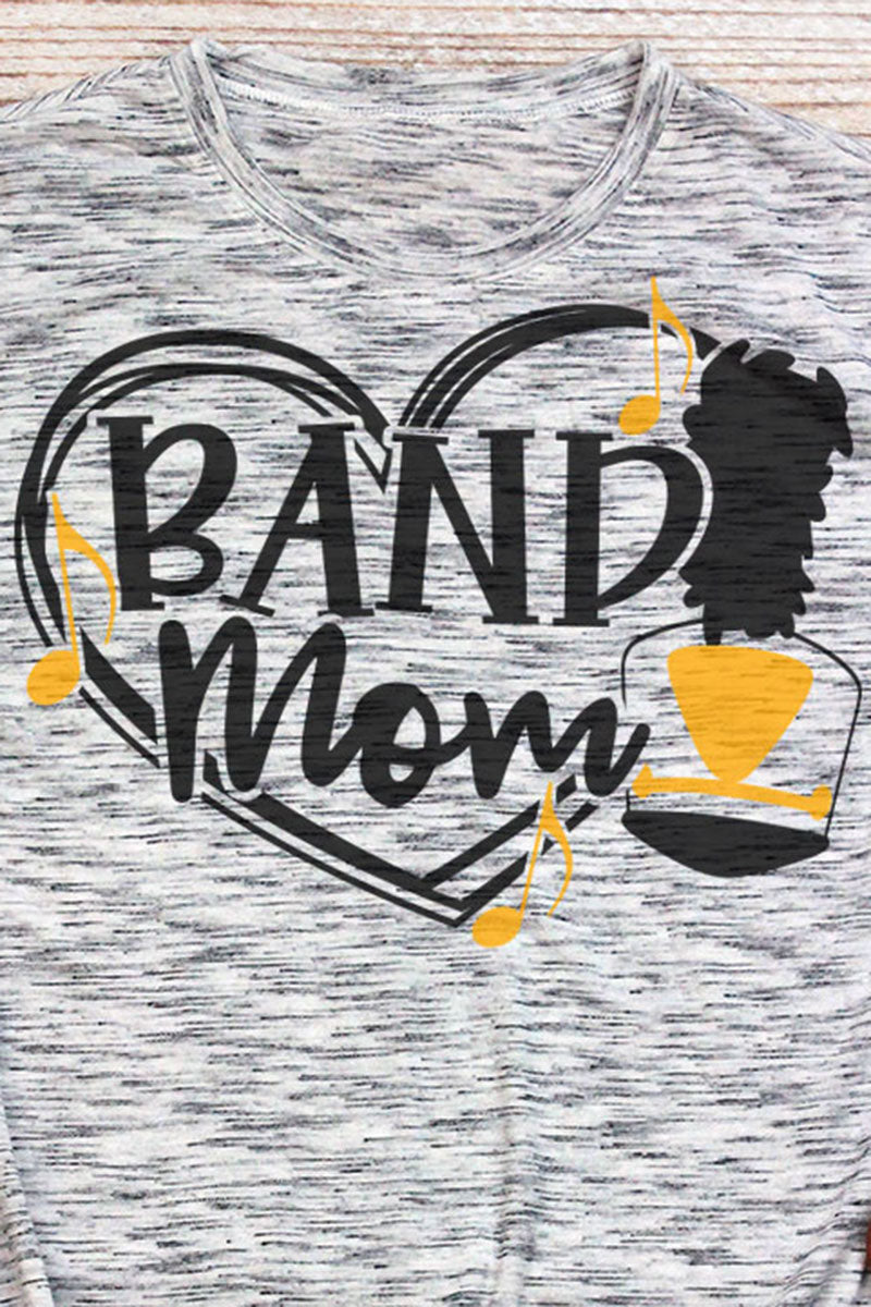 Band Mom - Black & Yellow Unisex White Marble Short Sleeve Tee