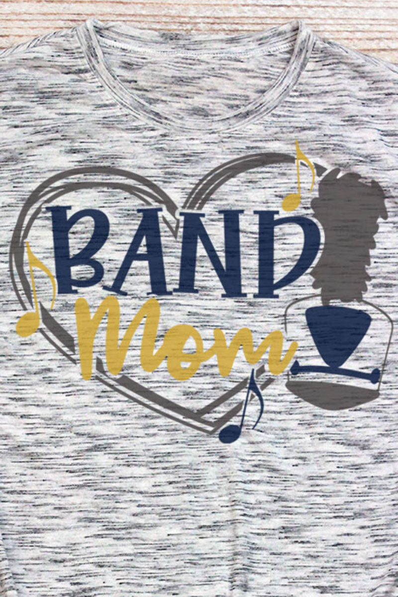 Band Mom - Navy & Yellow Unisex White Marble Short Sleeve Tee