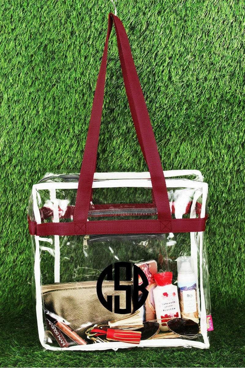 NGIL Clear Stadium Tote Bag with Burgundy and Gray Trim
