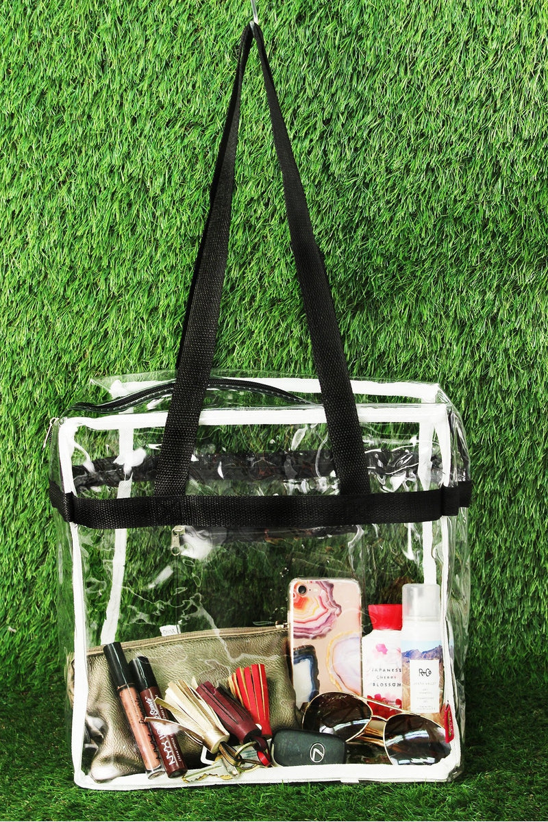 NGIL Clear Stadium Tote Bag with Black Trim