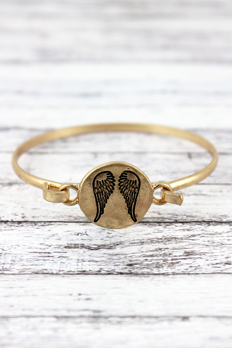 Worn Goldtone Angel Wings Disk Bracelet