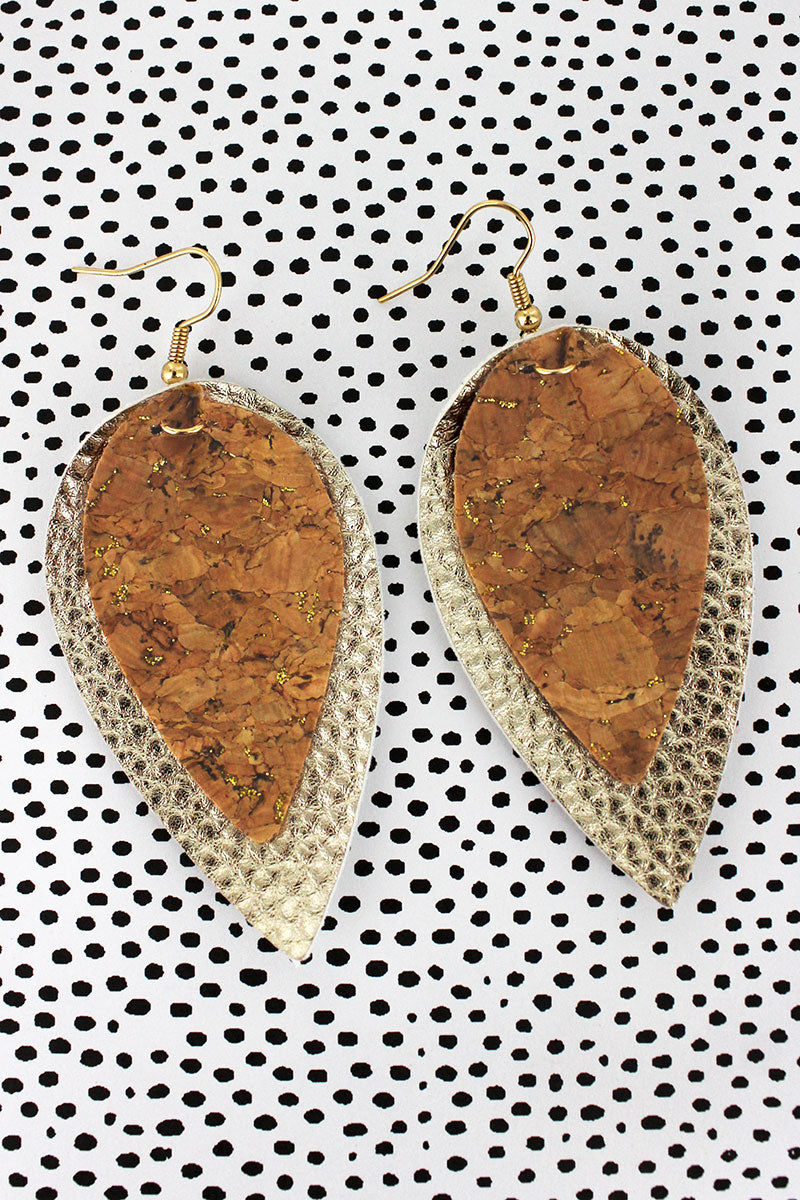 Gold Glimmer Cork and Faux Leather Layered Petal Earrings