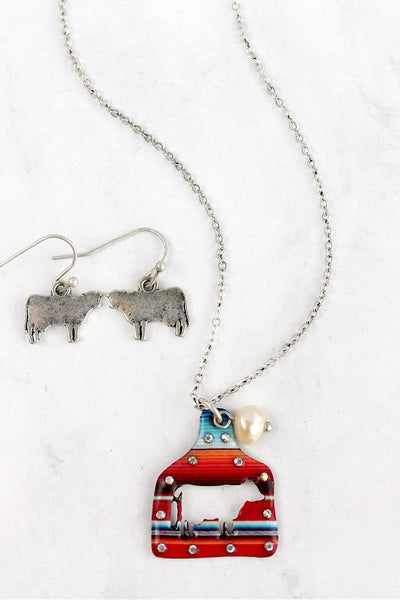 Serape Cut-Out Cow Ear Tag Silvertone Necklace and Earring Set