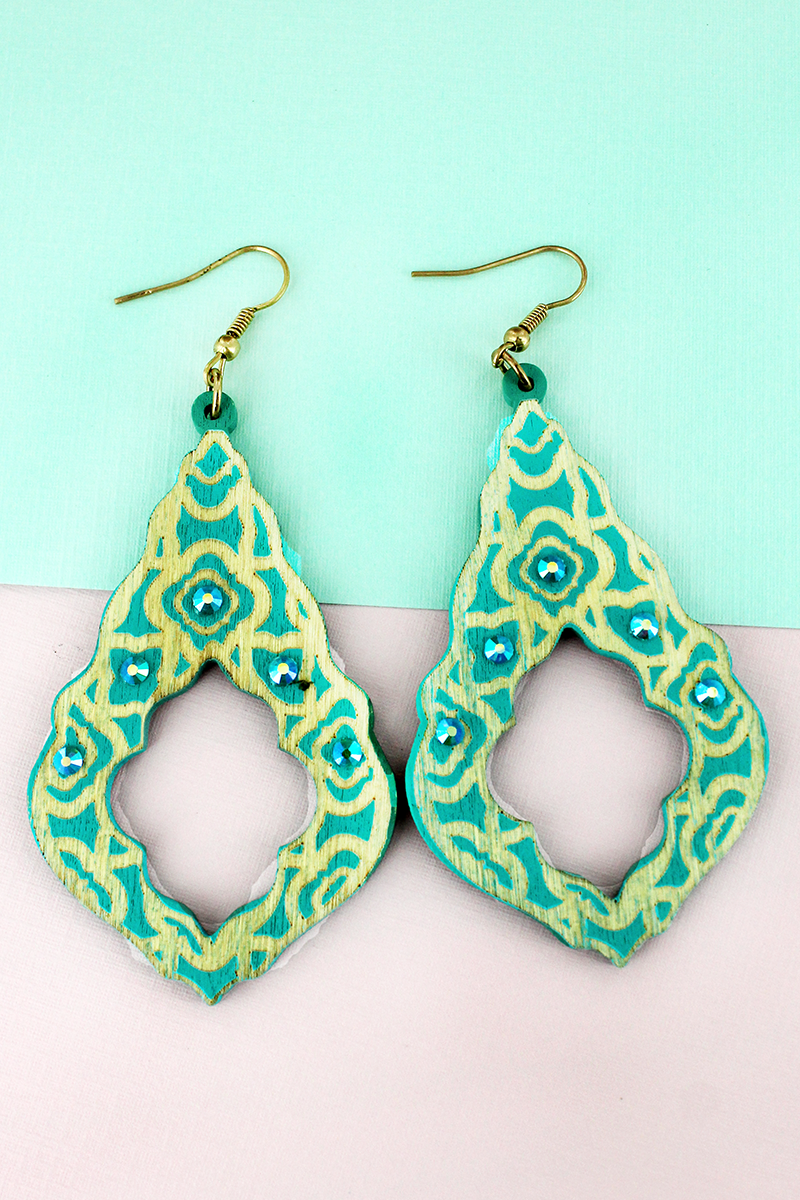 Crystal Accented Turquoise Wood Moroccan Teardrop Earrings