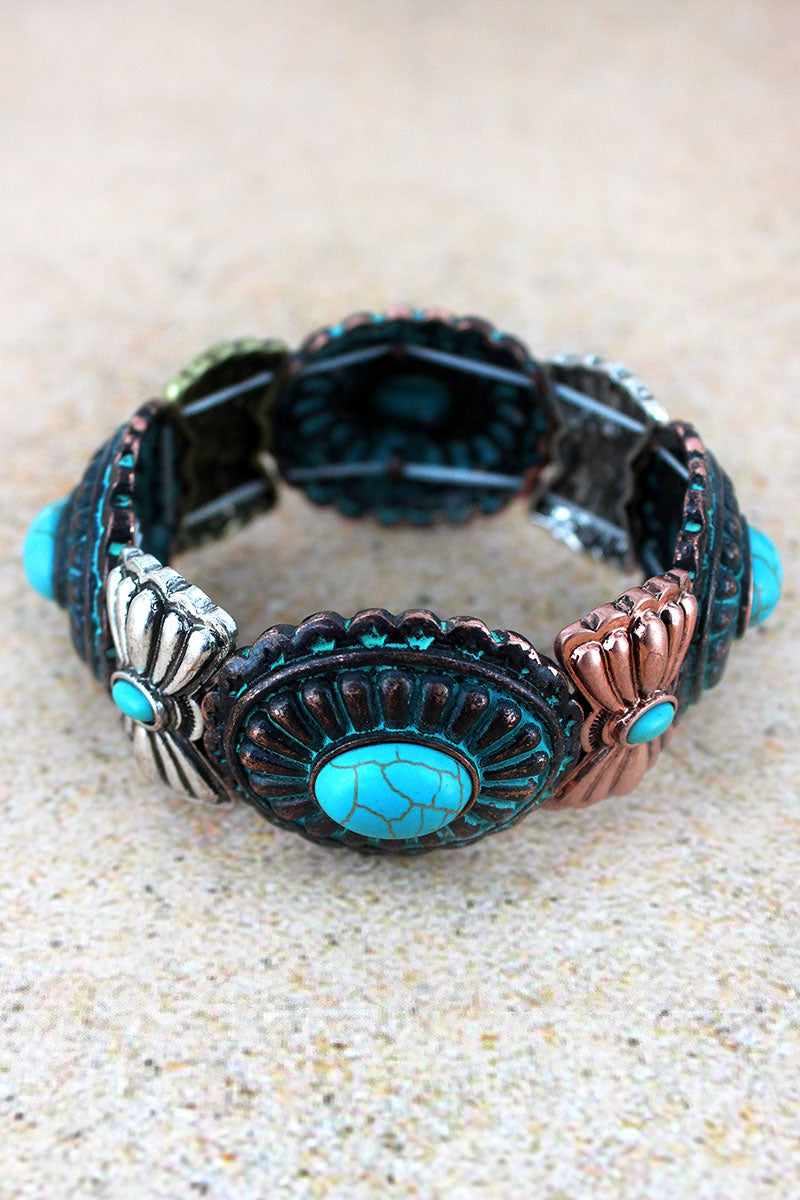 Turquoise Beaded Tri-Tone Western Concho Stretch Bracelet
