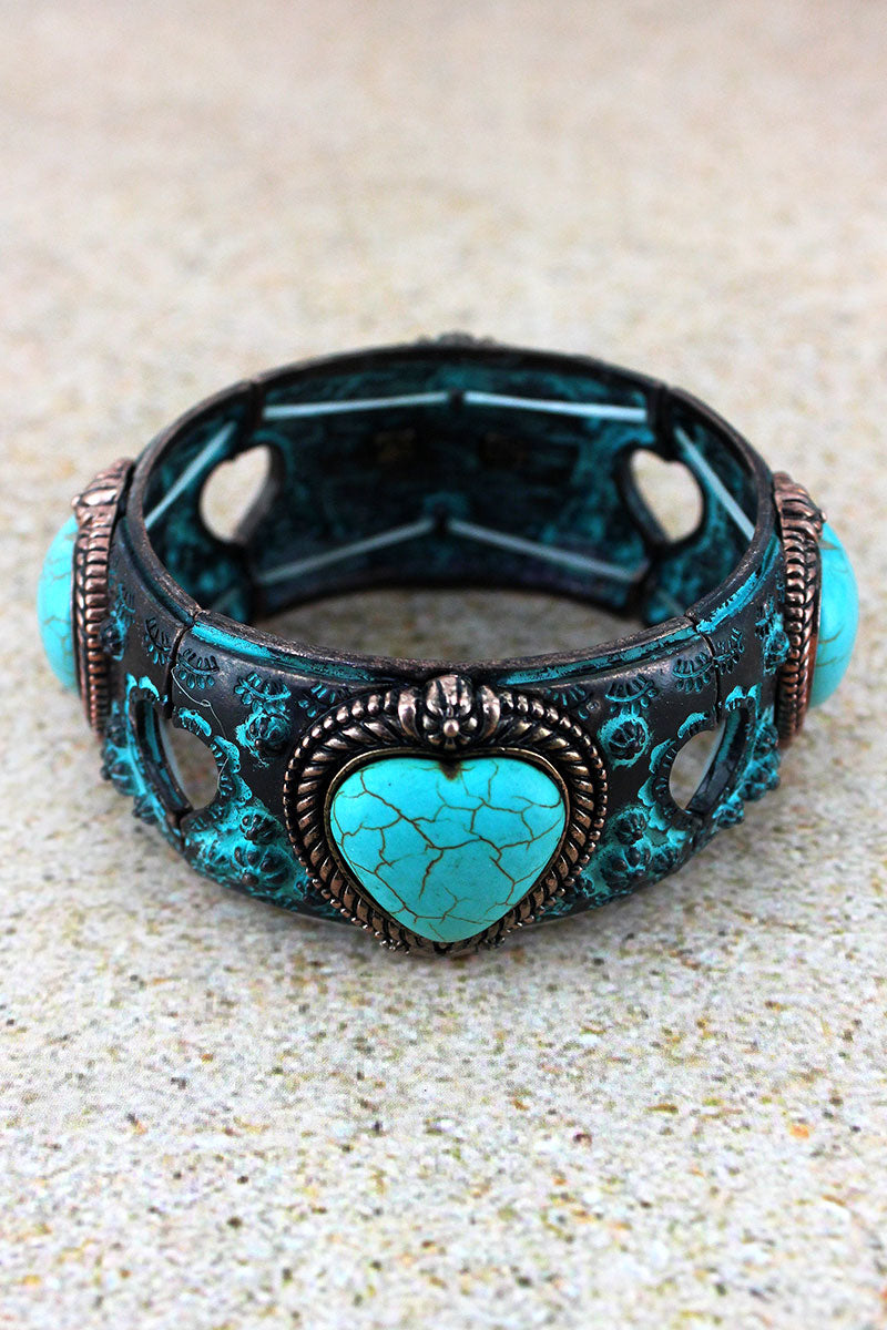 Turquoise Heart Patina and Coppertone Stretch Bracelet