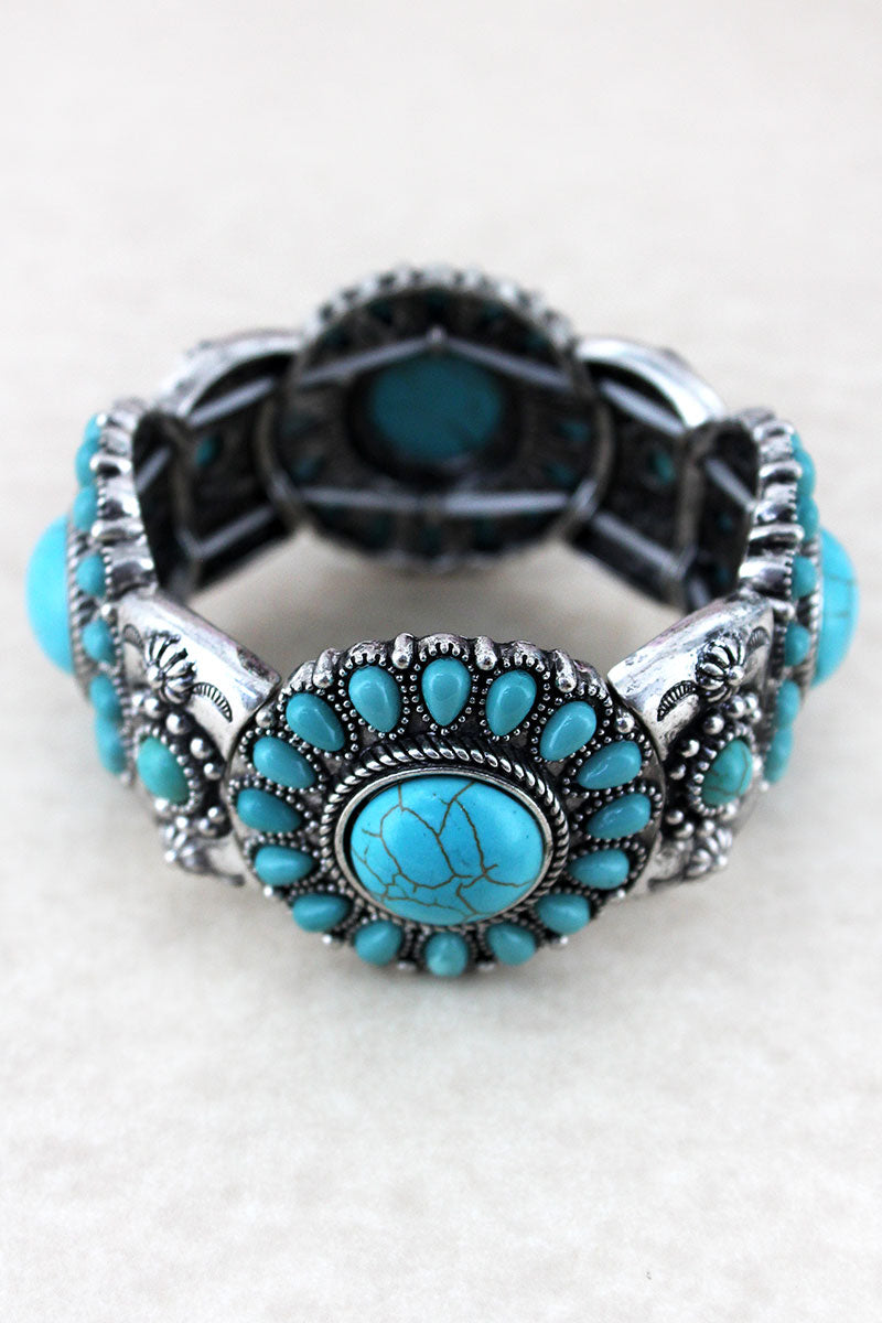 Western Turquoise Beaded Silvertone Disk Stretch Bracelet