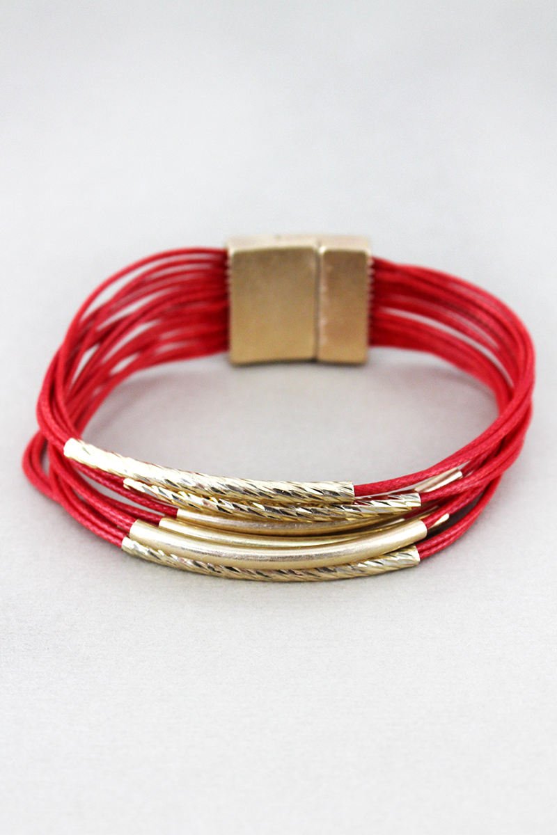 Worn Goldtone Bar Red Multi-Cord Magnetic Bracelet