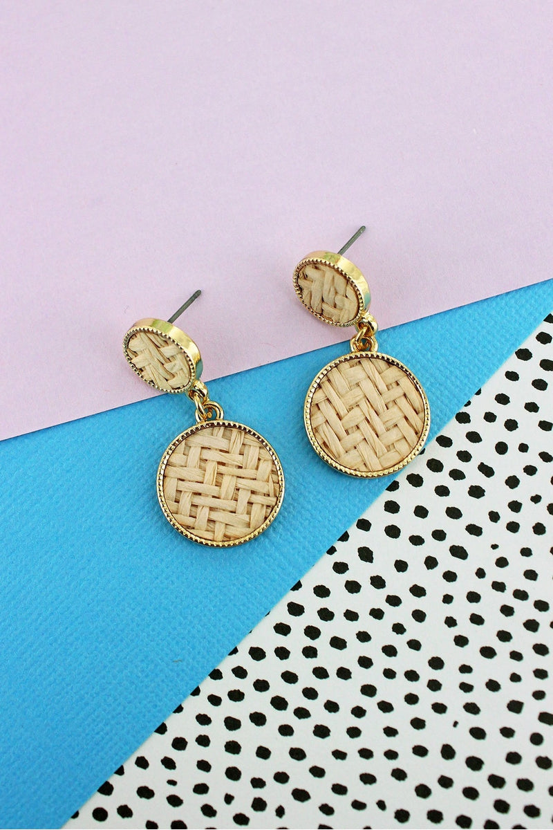 Ivory Rattan and Goldtone Double Disk Drop Earrings
