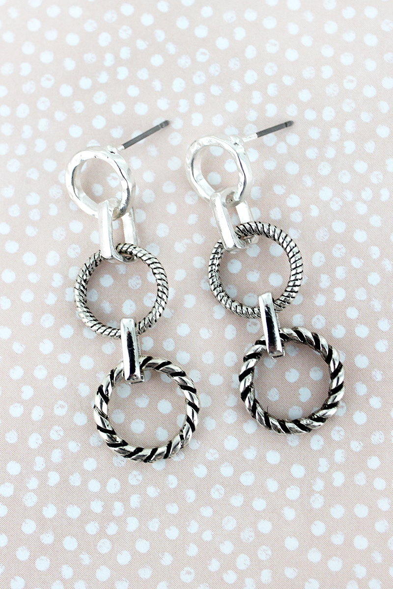 Rope Textured Silvertone Linked Ring Earrings