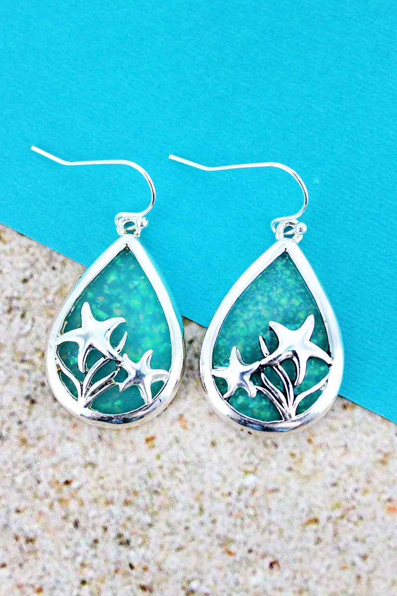 Turquoise Opal and Silvertone Starfish Teardrop Earrings