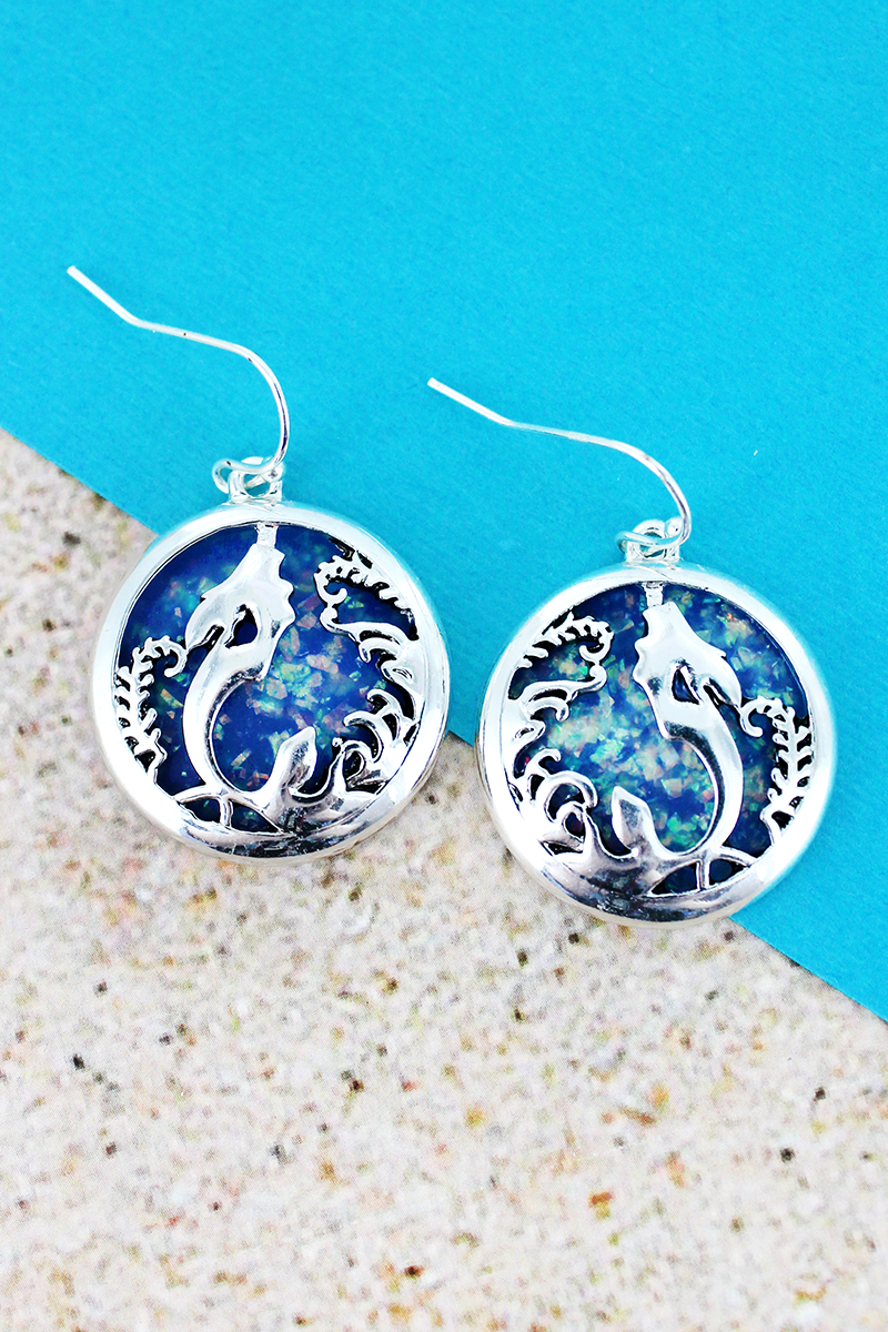 Blue Opal and Silvertone Mermaid Disk Earrings