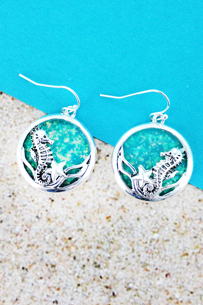 Turquoise Opal and Silvertone Seahorse Disk Earrings