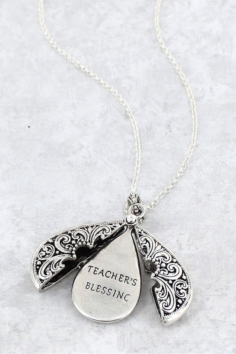 Worn Silvertone 'Teacher's Blessing' Teardrop Message Locket Necklace