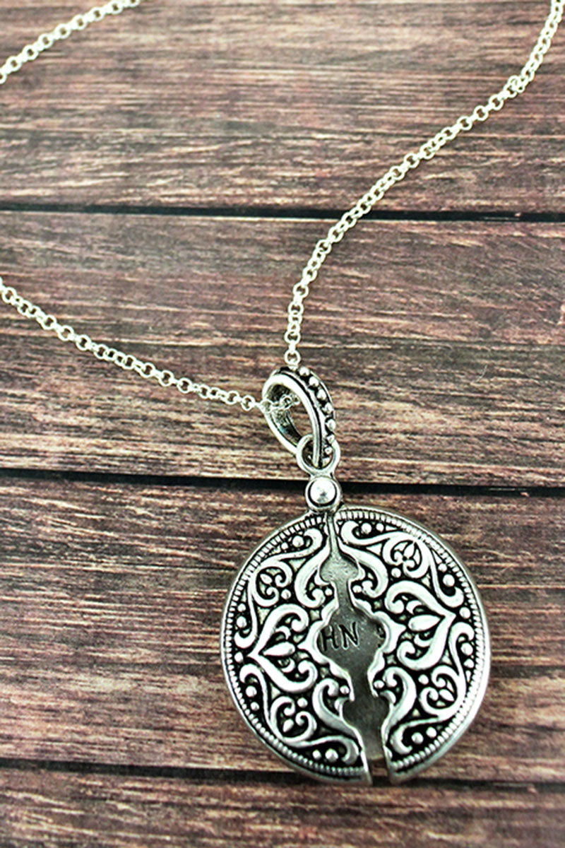 Worn Silvertone 'John 3:16' Message Locket Necklace