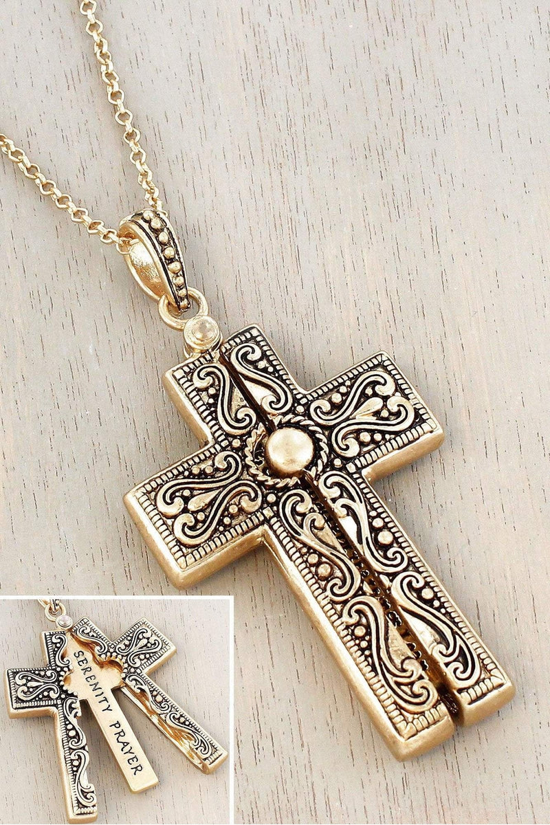 Worn Goldtone 'Serenity Prayer' Cross Message Locket Necklace