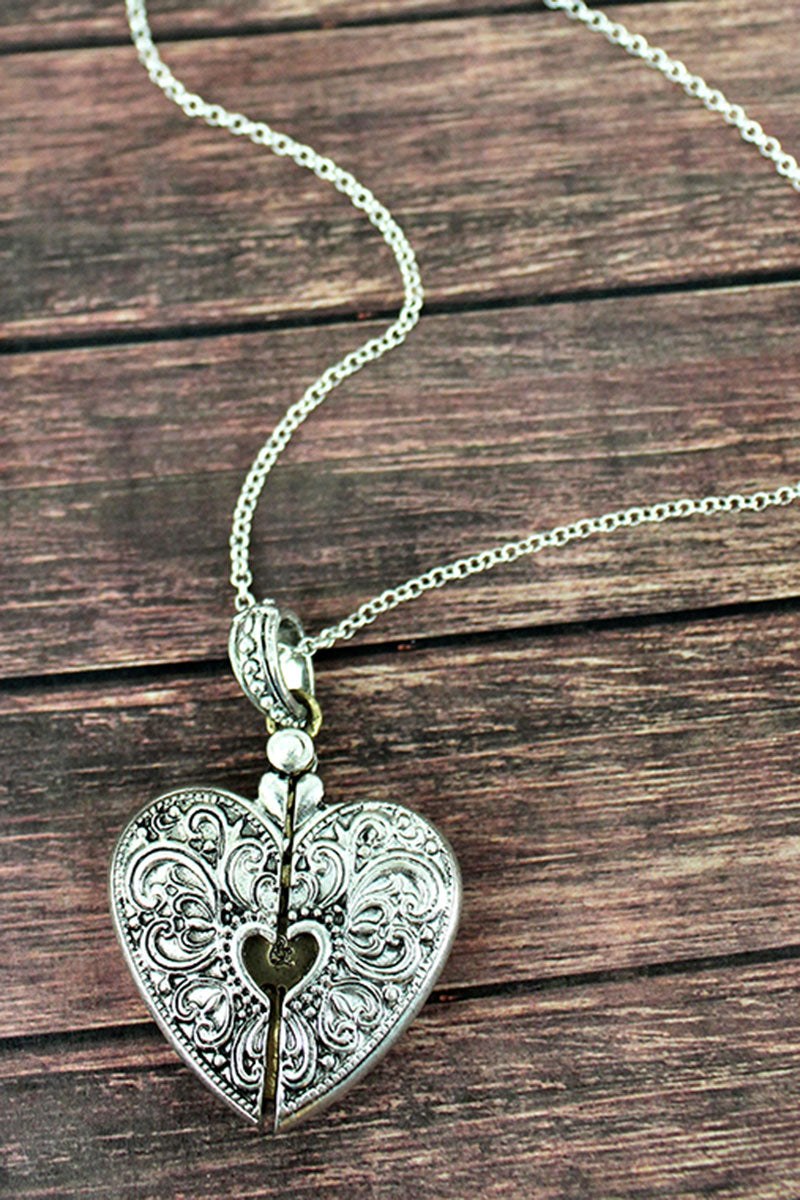 Worn Two-Tone 'Mom & Daughter' Message Locket Necklace