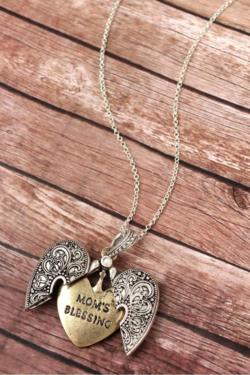 Worn Two-Tone 'Mom's Blessing' Heart Message Locket Necklace