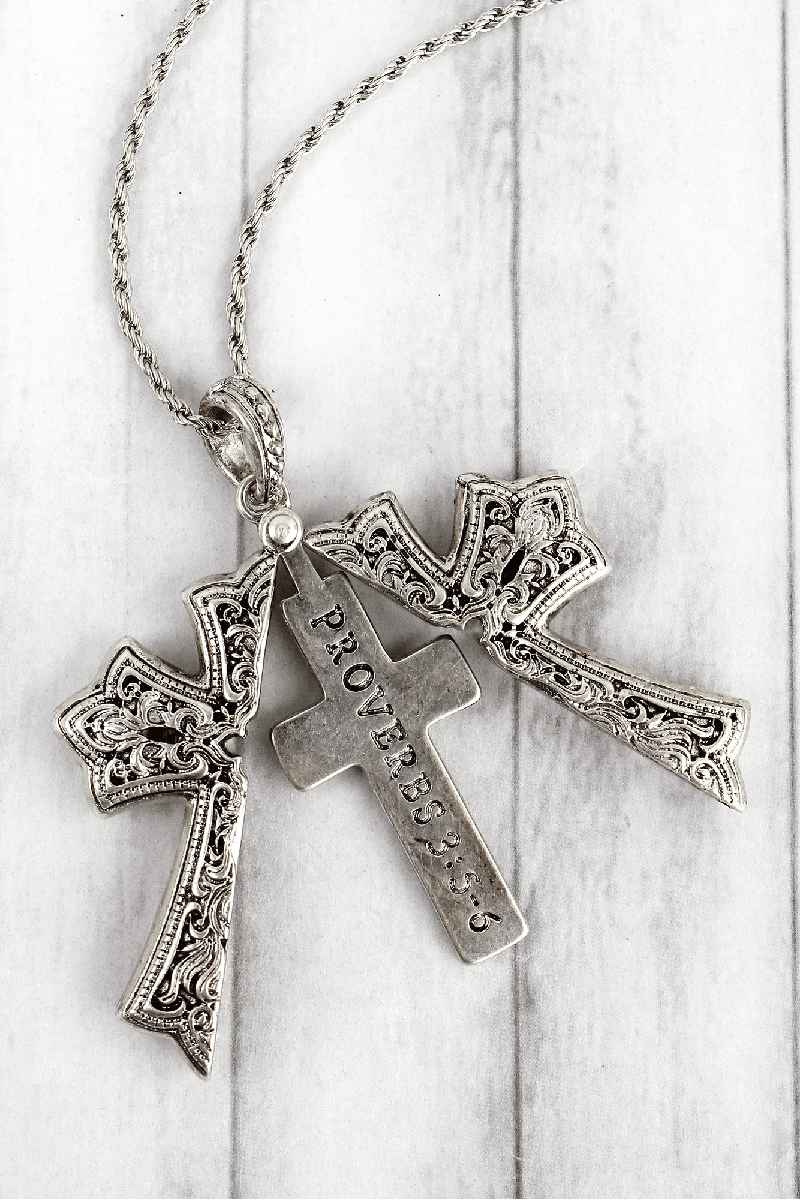 Worn Silvertone 'Proverbs 3:5-6' Cross Message Locket Necklace