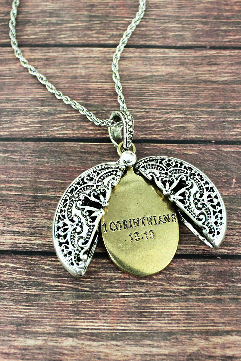 Worn Two-Tone '1 Corinthians 13:13' Message Locket Necklace