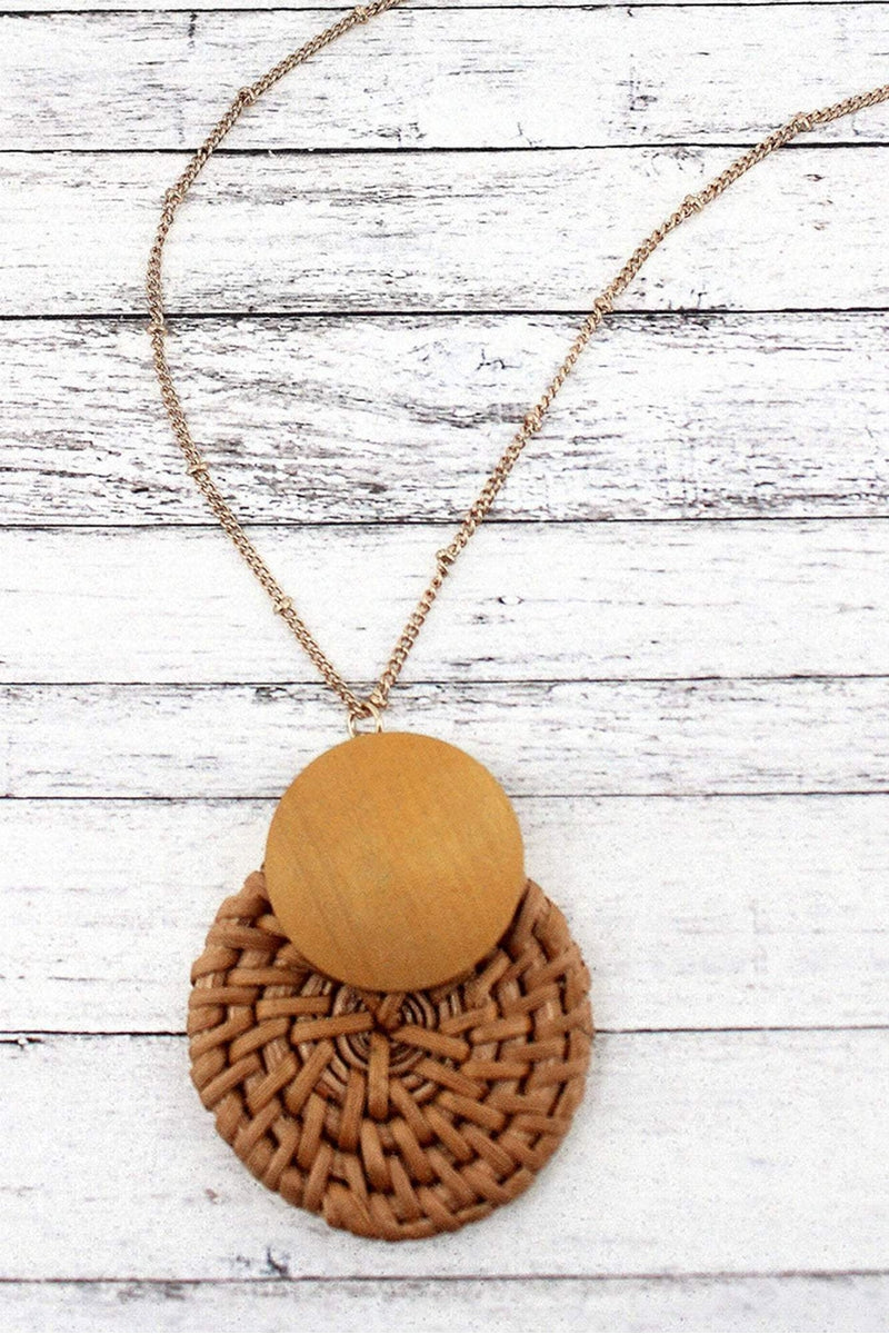 Yellow Wood and Rattan Layered Disk Pendant Necklace