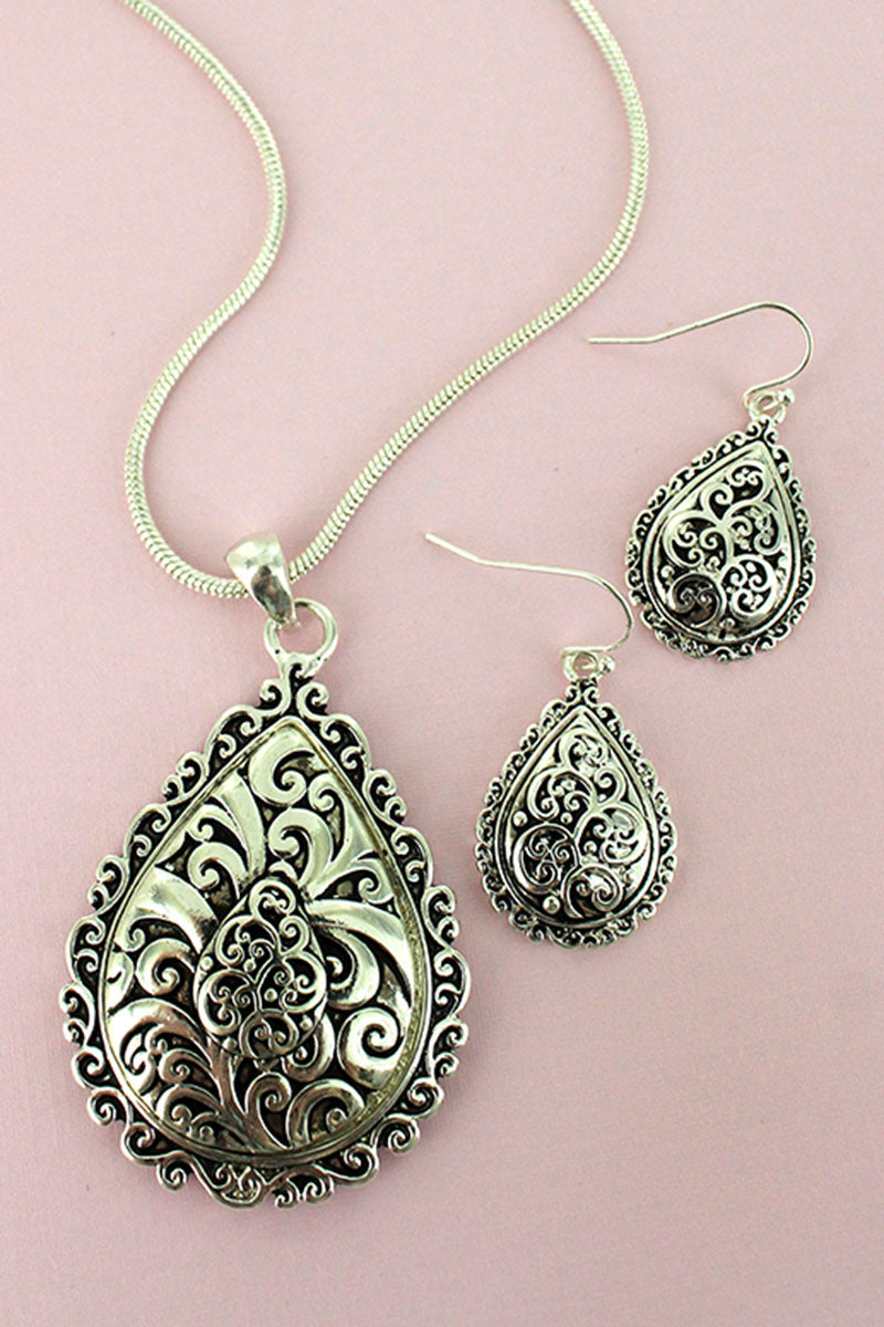 Silvertone Scroll Teardrop Necklace and Earring Set