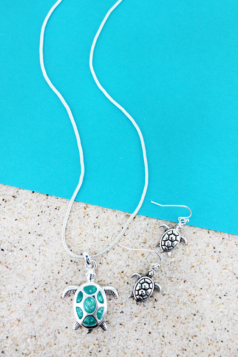 Turquoise Opal and Silvertone Sea Turtle Necklace and Earring Set