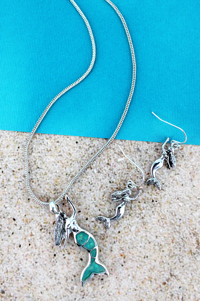 Turquoise Opal and Silvertone Mermaid Necklace and Earring Set