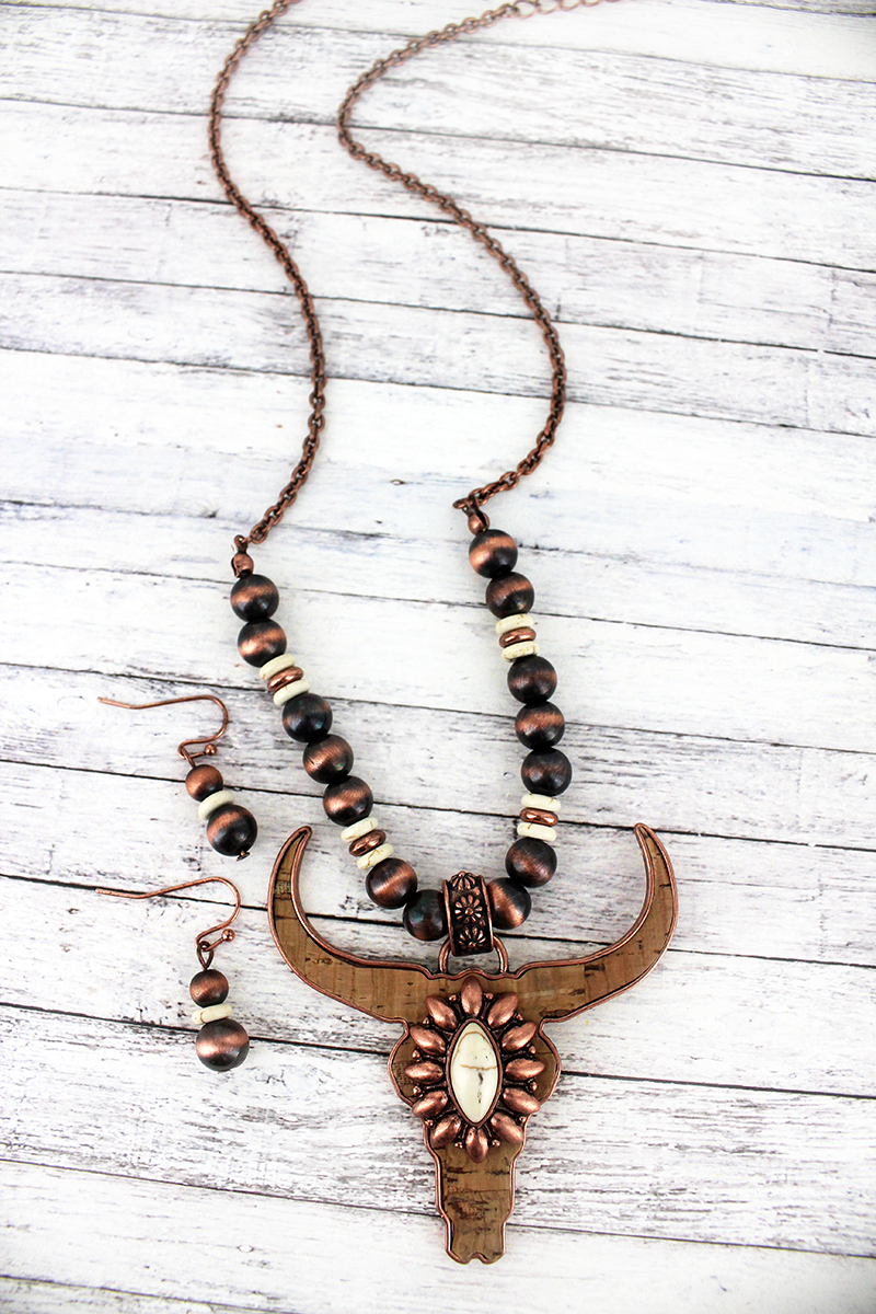 Cork and Coppertone with Howlite Steer Navajo Pearl Necklace and Earring Set