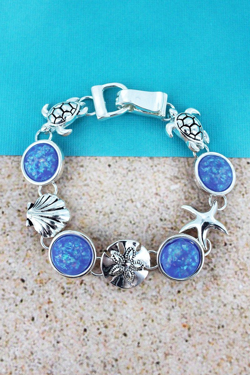 Blue Opal Disk and Silvertone Sea Life Magnetic Bracelet
