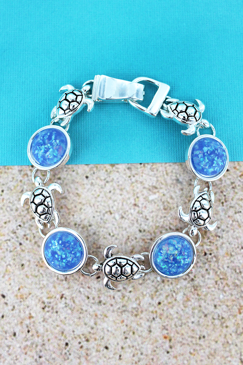 Blue Opal Disk and Silvertone Sea Turtle Magnetic Bracelet