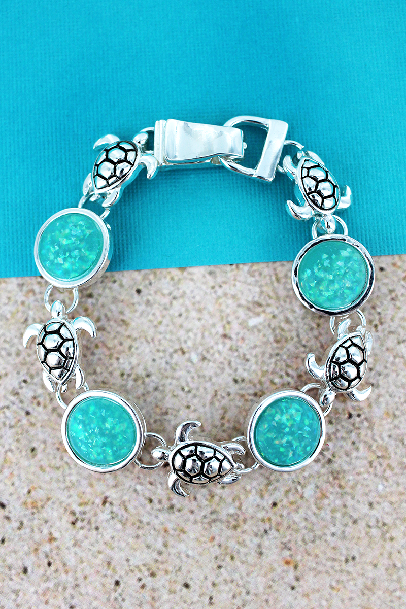 Turquoise Opal Disk and Silvertone Sea Turtle Magnetic Bracelet