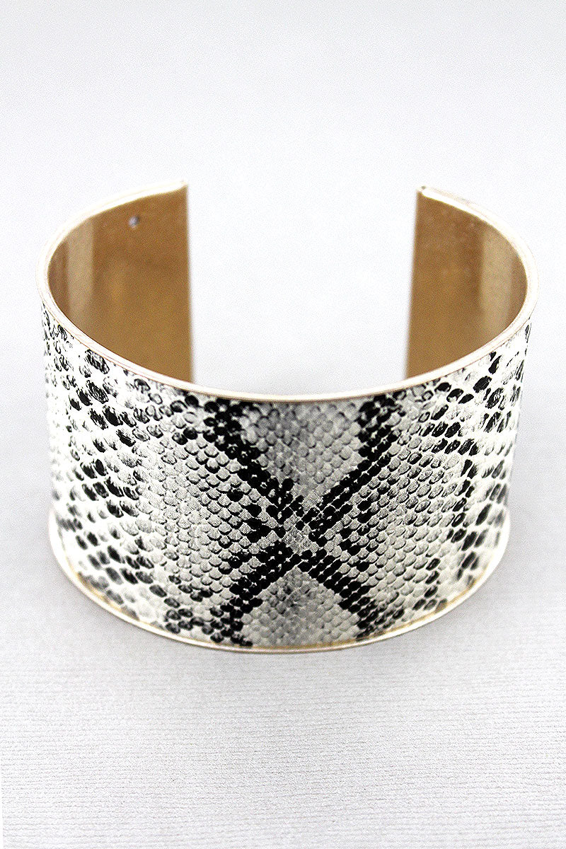 Beige Snakeskin Cork and Goldtone Cuff Bracelet