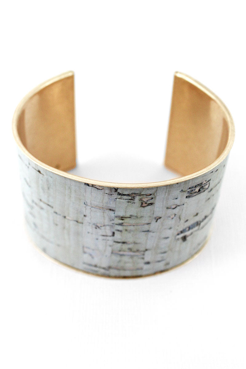 Gray Cork and Goldtone Cuff Bracelet