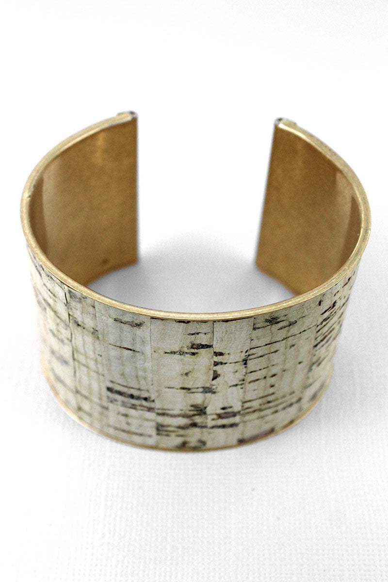 Ivory Cork and Goldtone Cuff Bracelet