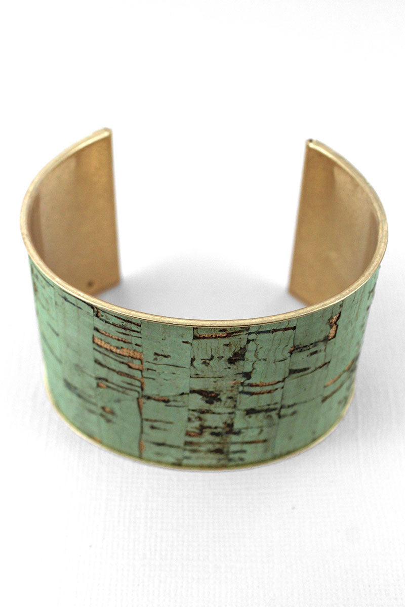 Mint Cork and Goldtone Cuff Bracelet