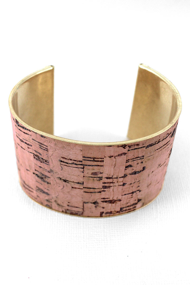 Peach Cork and Goldtone Cuff Bracelet
