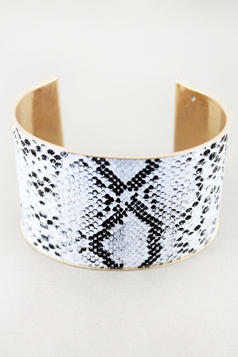 White Snakeskin Cork and Goldtone Cuff Bracelet
