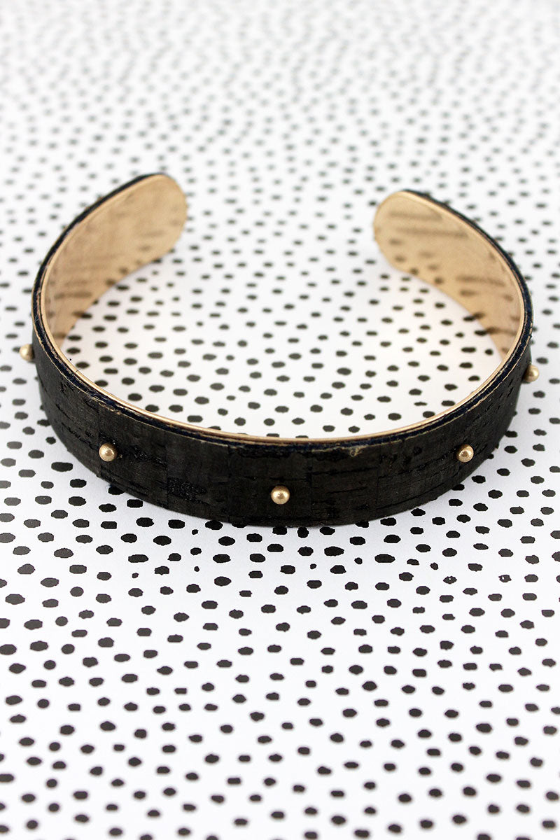Goldtone Studded Black Cork Cuff Bracelet