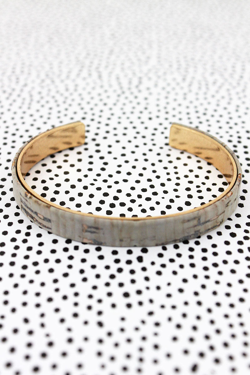 Gray Cork and Goldtone Thin Cuff Bracelet