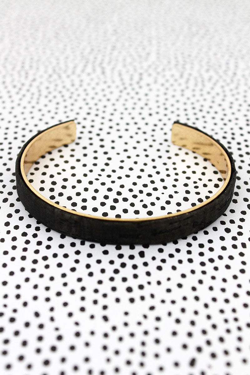 Jet Cork and Goldtone Thin Cuff Bracelet