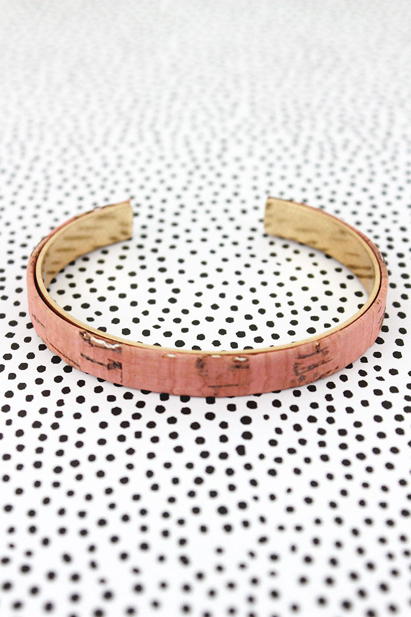 Peach Cork and Goldtone Thin Cuff Bracelet