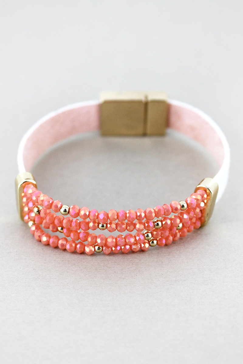 Coral Faux Leather with Glass Bead Magnetic Bracelet
