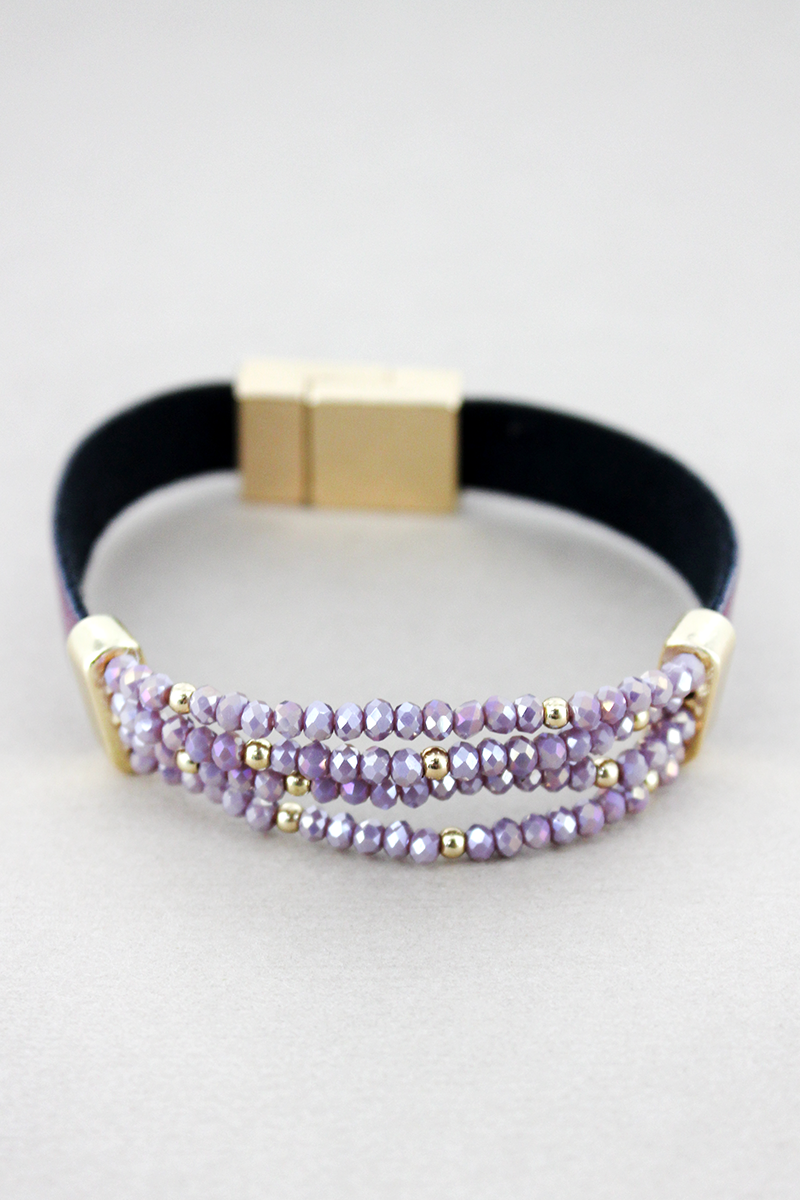 Purple Faux Leather with Glass Bead Magnetic Bracelet