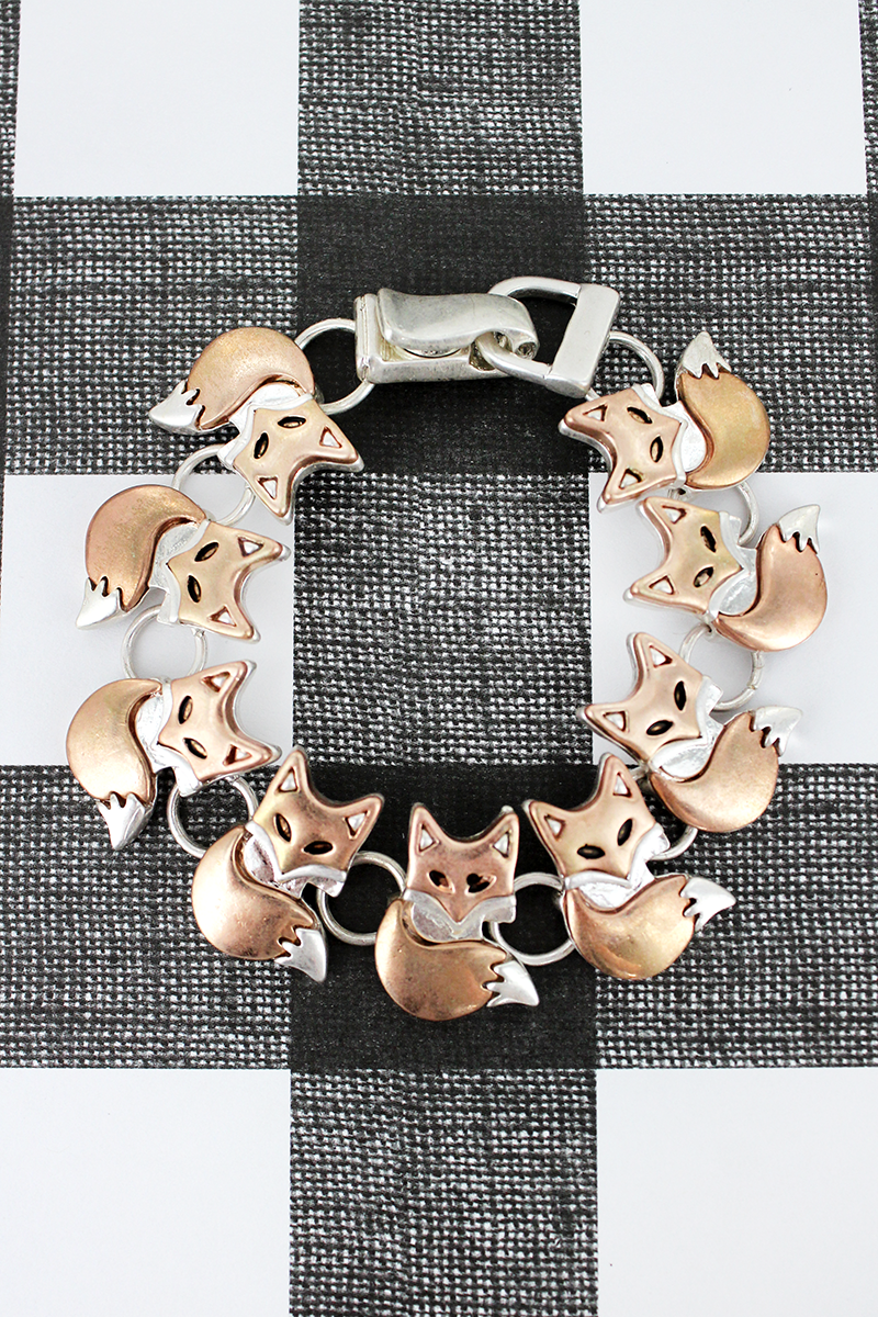 Worn Rose Gold and Silvertone Fox Magnetic Bracelet